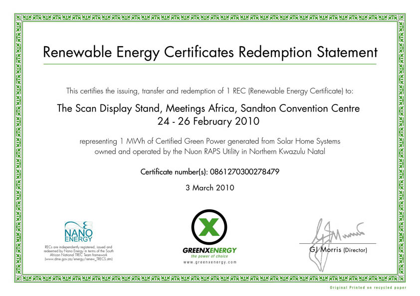 Industry First Scan Uses Green Energy At Meetings Africa Event